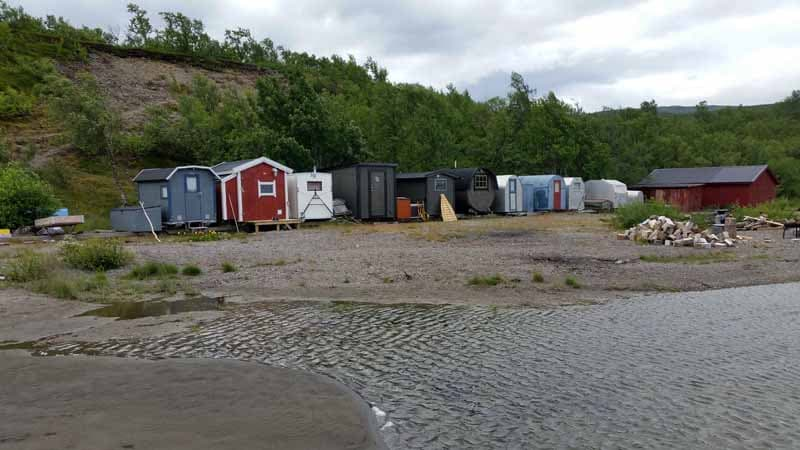 Fisherman's Huts in Tornetrask Lake, Sweden