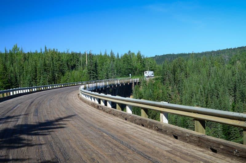 curved wooden Kiskatinaw Bridge
