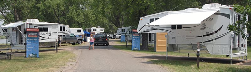 Campers arranged around loop at Truck Camper Show in Ogallala