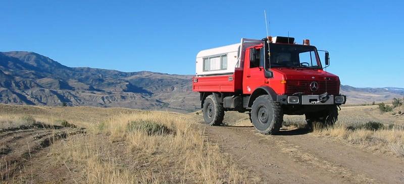 Unimog Camper Big Tires Back Roads Near Cody WY