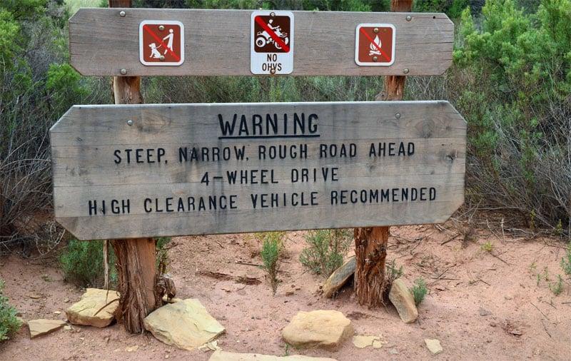 Steep Narrow Rough Road Ahead