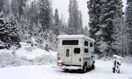 Camper Caught In Snow
