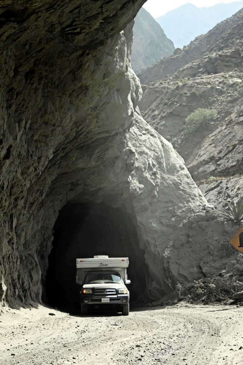 Hand Carved Tunnel On The Canyon Del Pato Route Peru