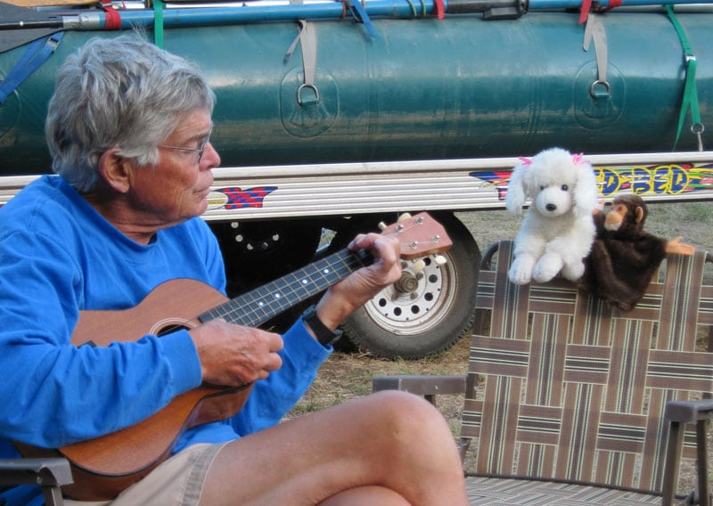 Evening Serenade With The Baritone Ukulele On The North Fork Of The Flathead River West Of Glacier National Park