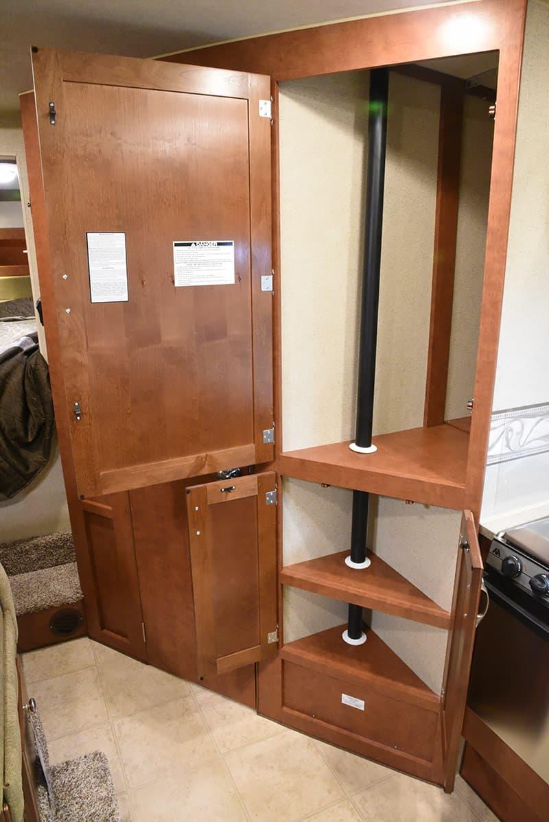 Arctic Fox 992 kitchen pantry storage open