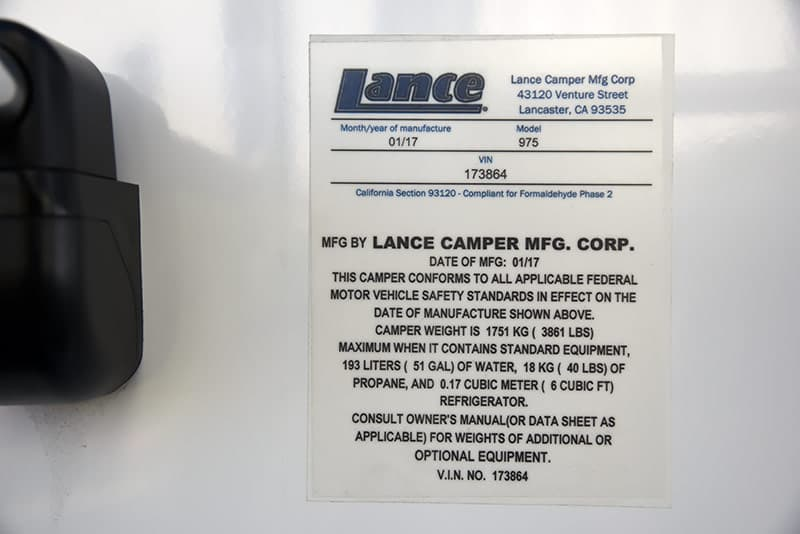 Lance 975 weight sticker