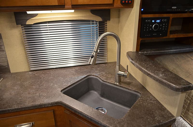 Faucets and sinks have been changed in the kitchens of 2017 Lance Campers