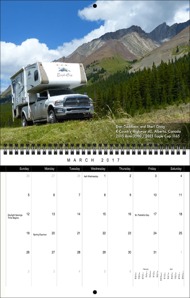 2017 Truck Camper Magazine Calendar March
