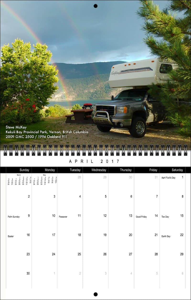 2017 Truck Camper Magazine Calendar April