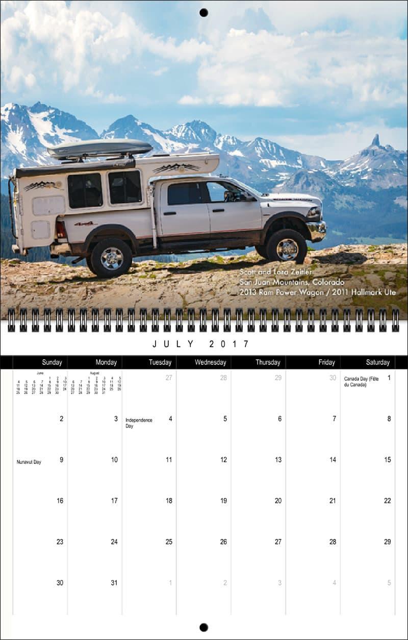 2017 Truck Camper Magazine Calendar July
