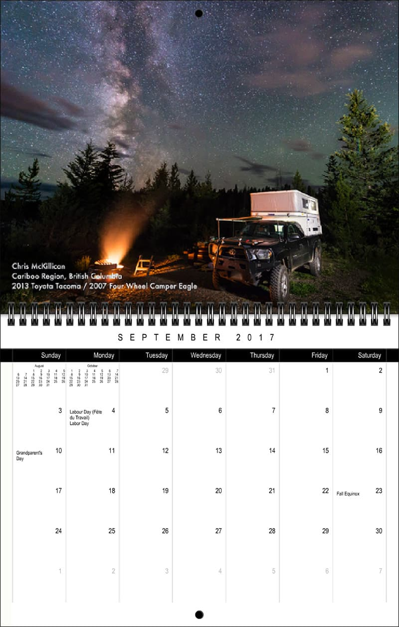 2017 Truck Camper Magazine Calendar September