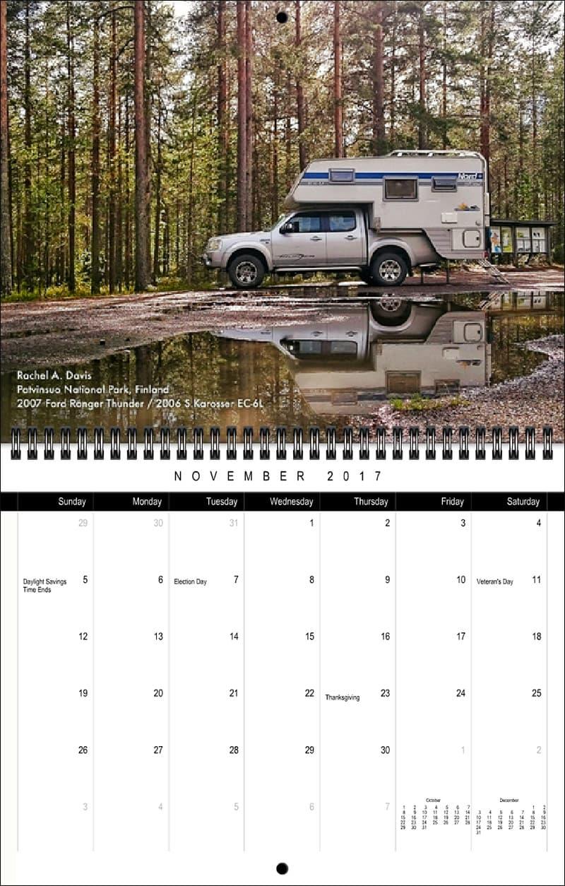 2017 Truck Camper Magazine Calendar November