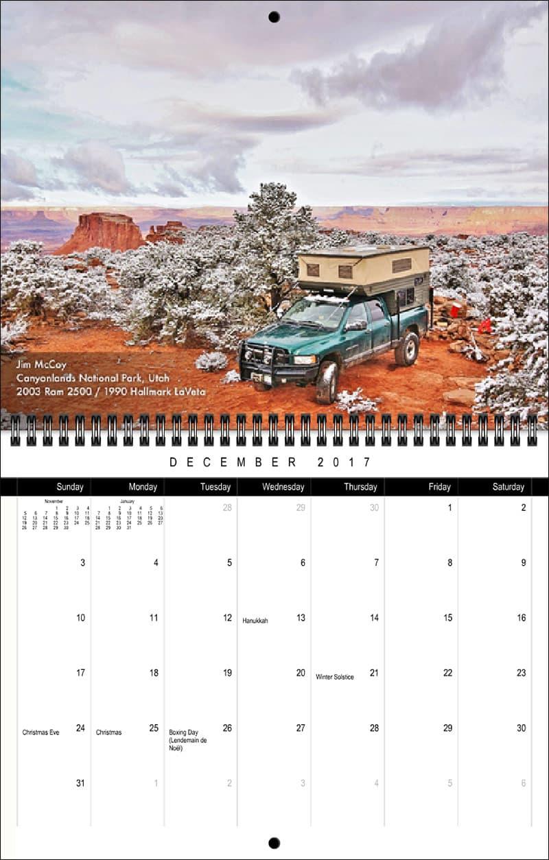 2017 Truck Camper Magazine Calendar December