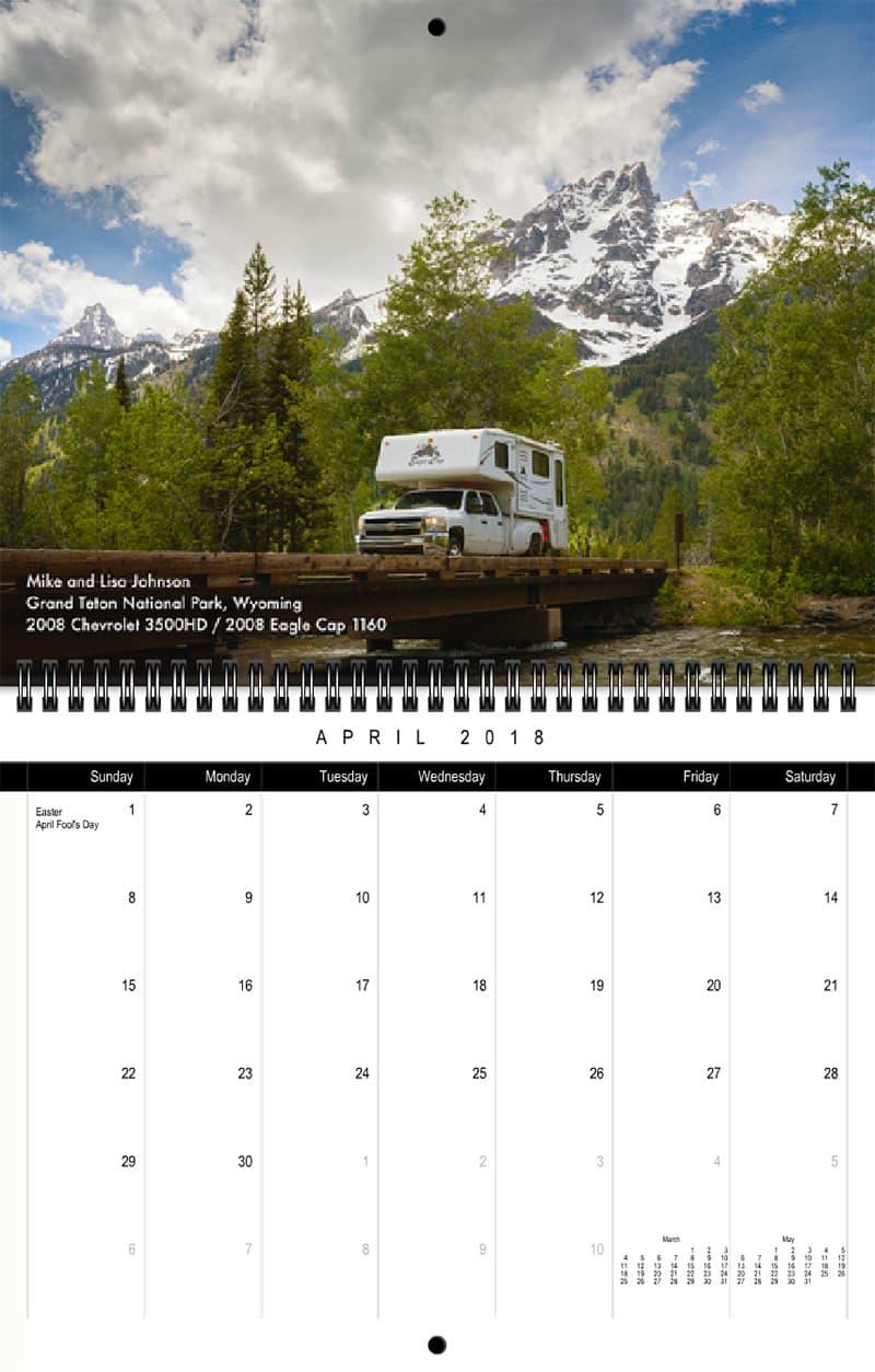 2018 Truck Camper Magazine Calendar April