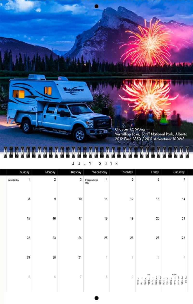 2018 Truck Camper Magazine Calendar July