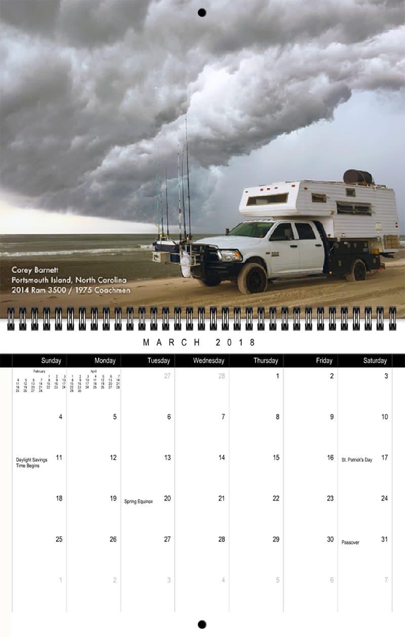 2018 Truck Camper Magazine Calendar March