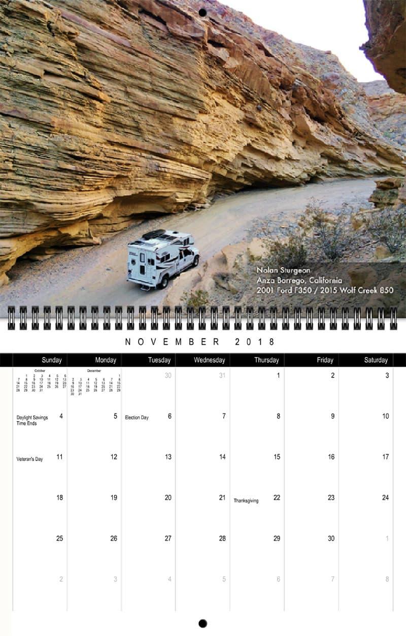 2018 Truck Camper Magazine Calendar November