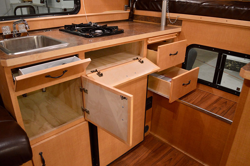 Alaskan Flatbed Camper Kitchen Storage