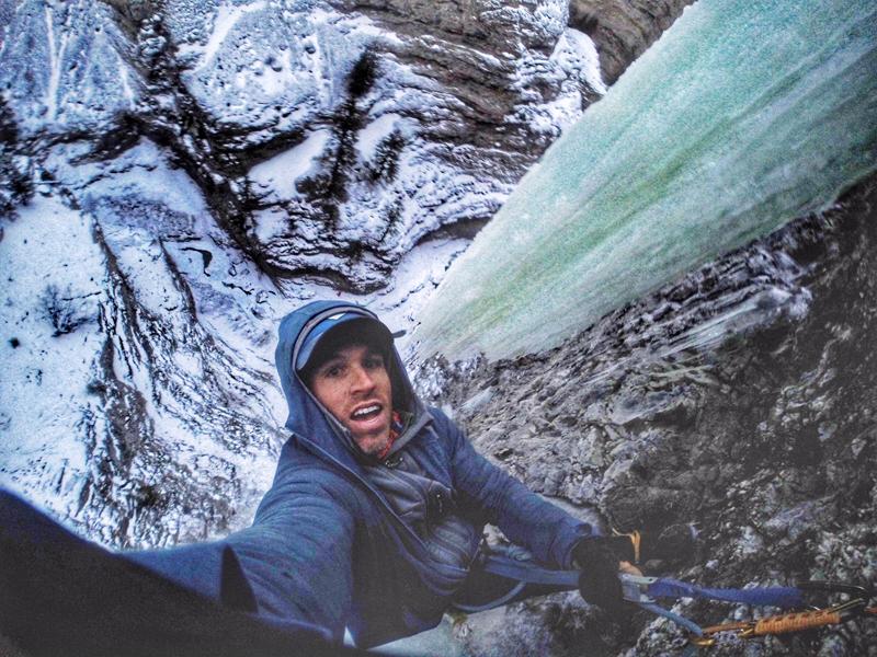 Aaron Mulkey climbing ice
