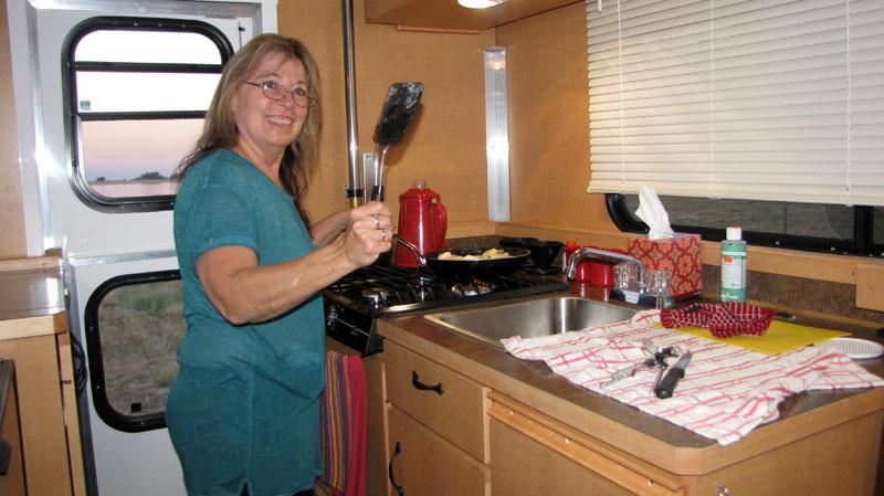 Cooking In Camper At Jackson Lake
