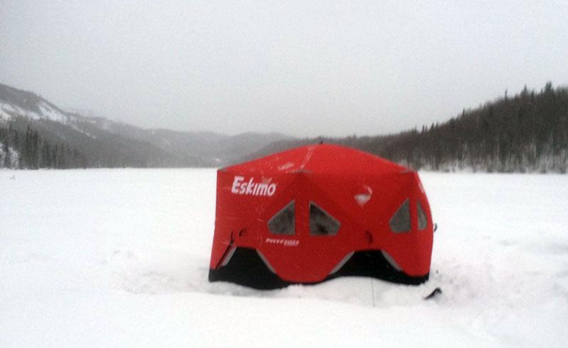 Eskimo Ice Fishing Shelter On Long Lake Alaska