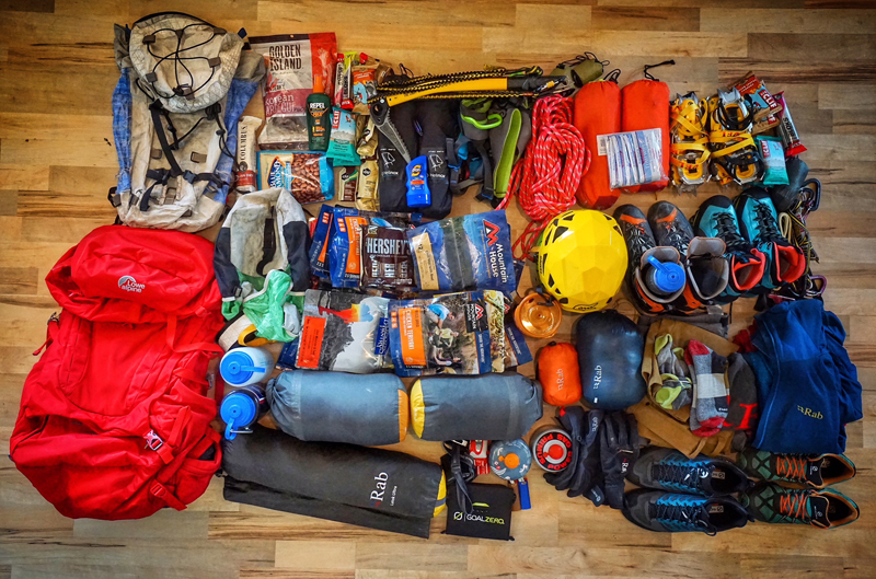 Gear In Backpack For Ice Climbing
