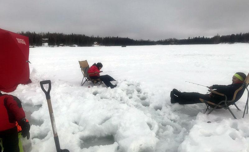 Grand Kids Ice Fishing In Alaska