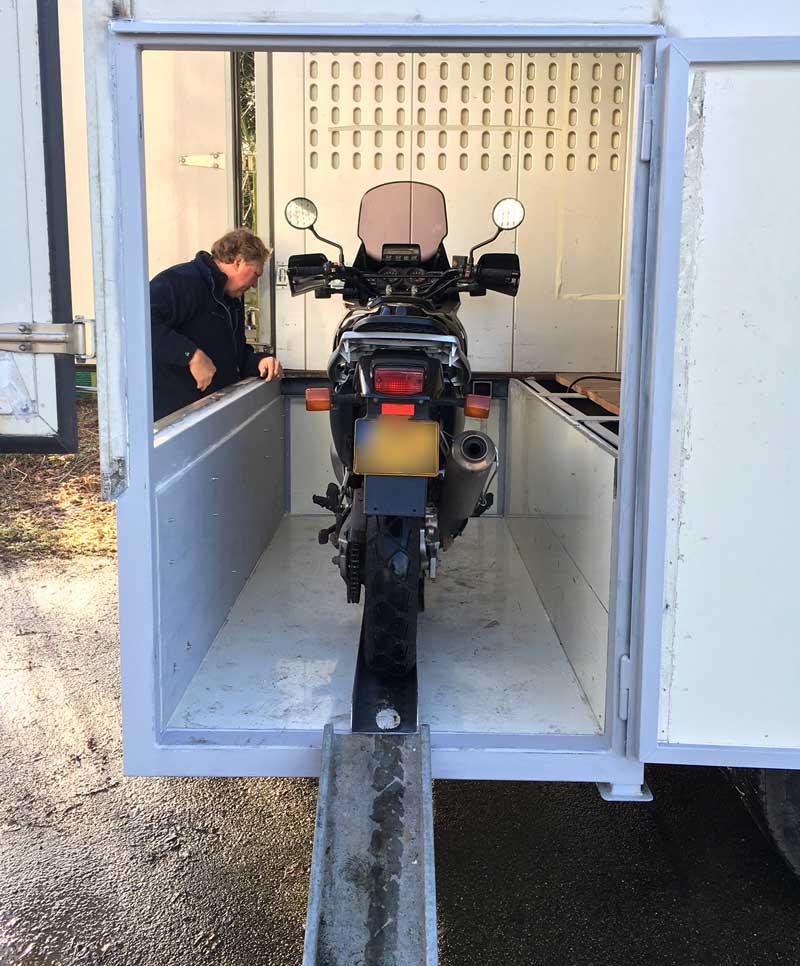 Motorcycle Garage In Camper Being Built
