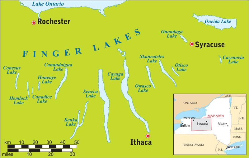 Finger Lakes, New York Map