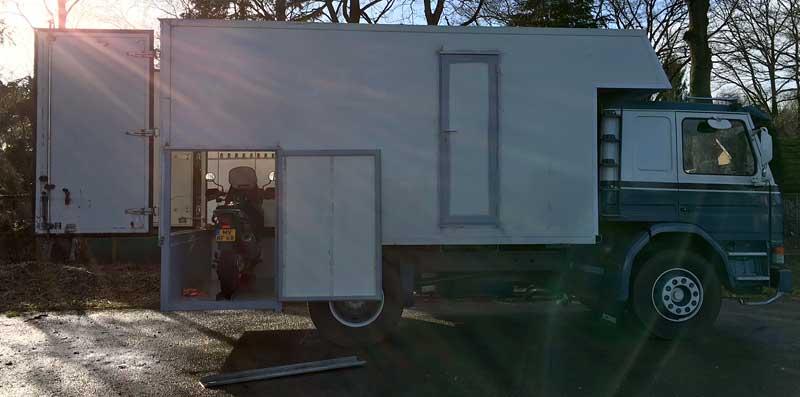 Motorcycle Storage In Demountable Camper