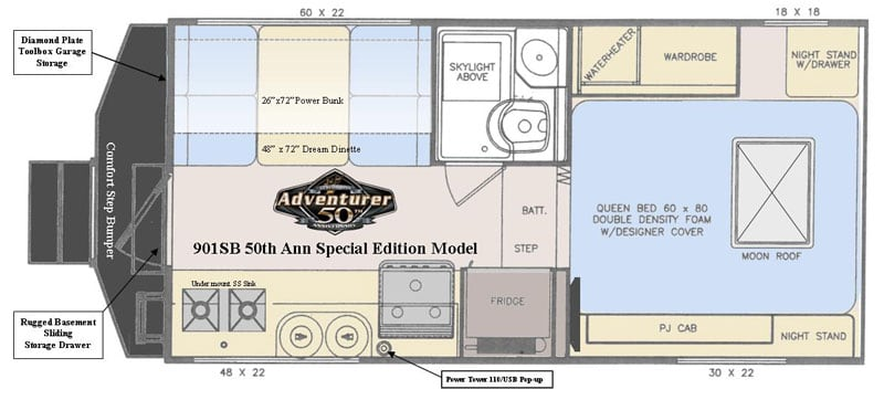 2019 Adventurer 901SB Floor Plan