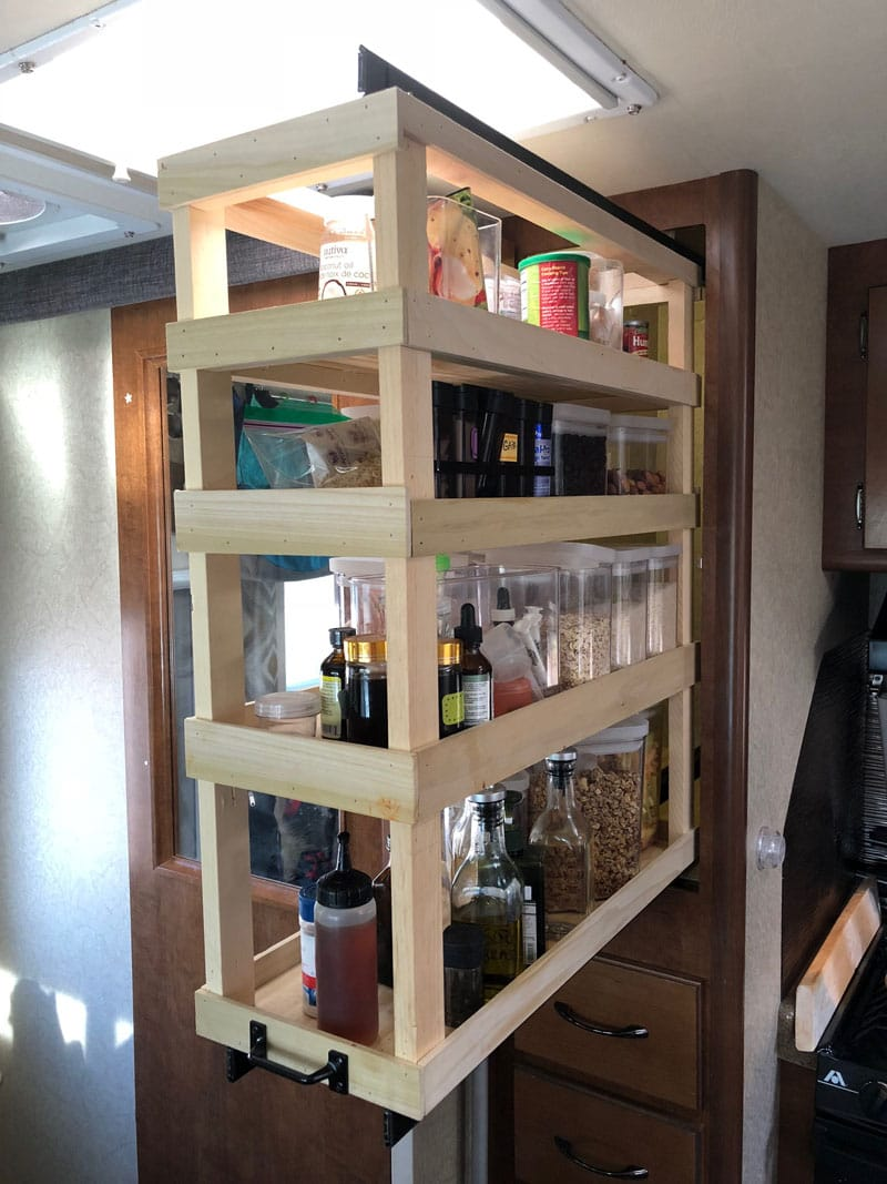 Homemade Kitchen Pantry Pulled Out