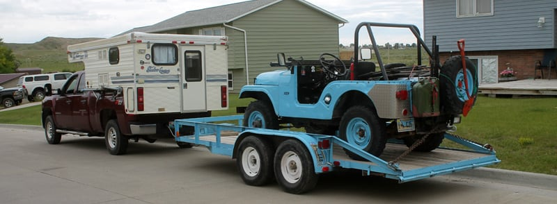 Shadow Cruiser Towing Blue Jeep