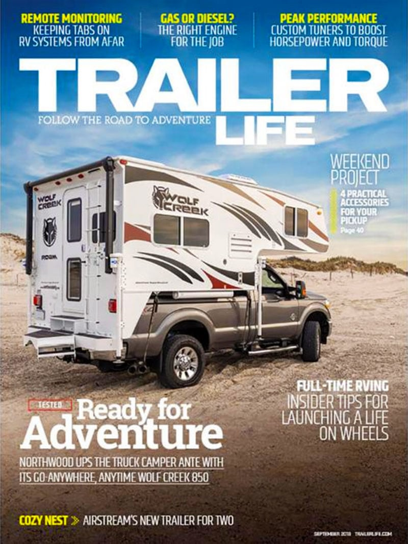 Trailer Life has a Wolf Creek Truck Camper on the Cover