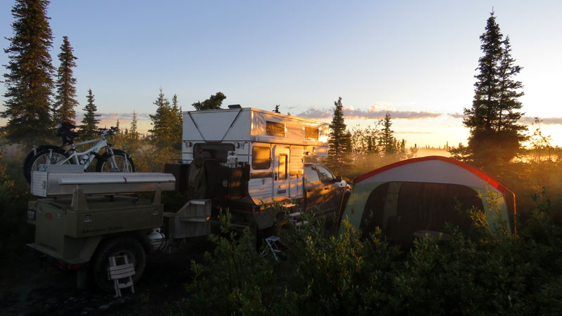 Alaska Muddy Camp Site With Tent