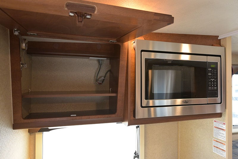Lance 650 Kitchen upper cabinetry and microwave