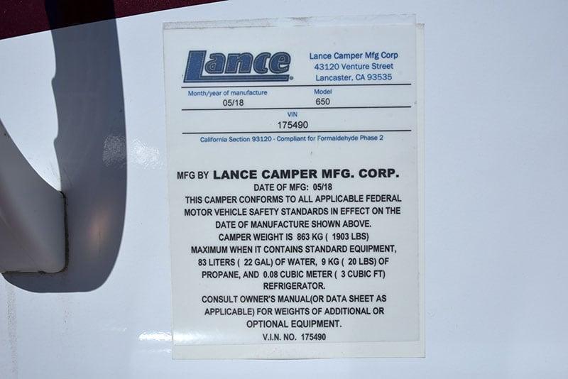 Lance 650 Rear Weight Sticker