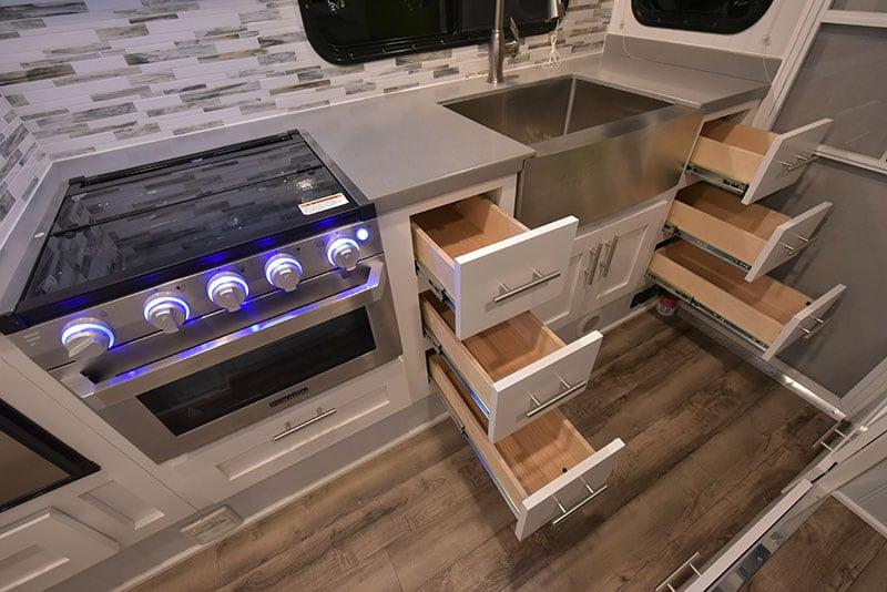 2019 Granite 11RL Kitchen Six Open Drawers
