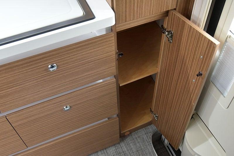 Cirrus 670 Interior Kitchen Lower Pantry Open