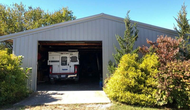 Four Wheel Camper In A Garage