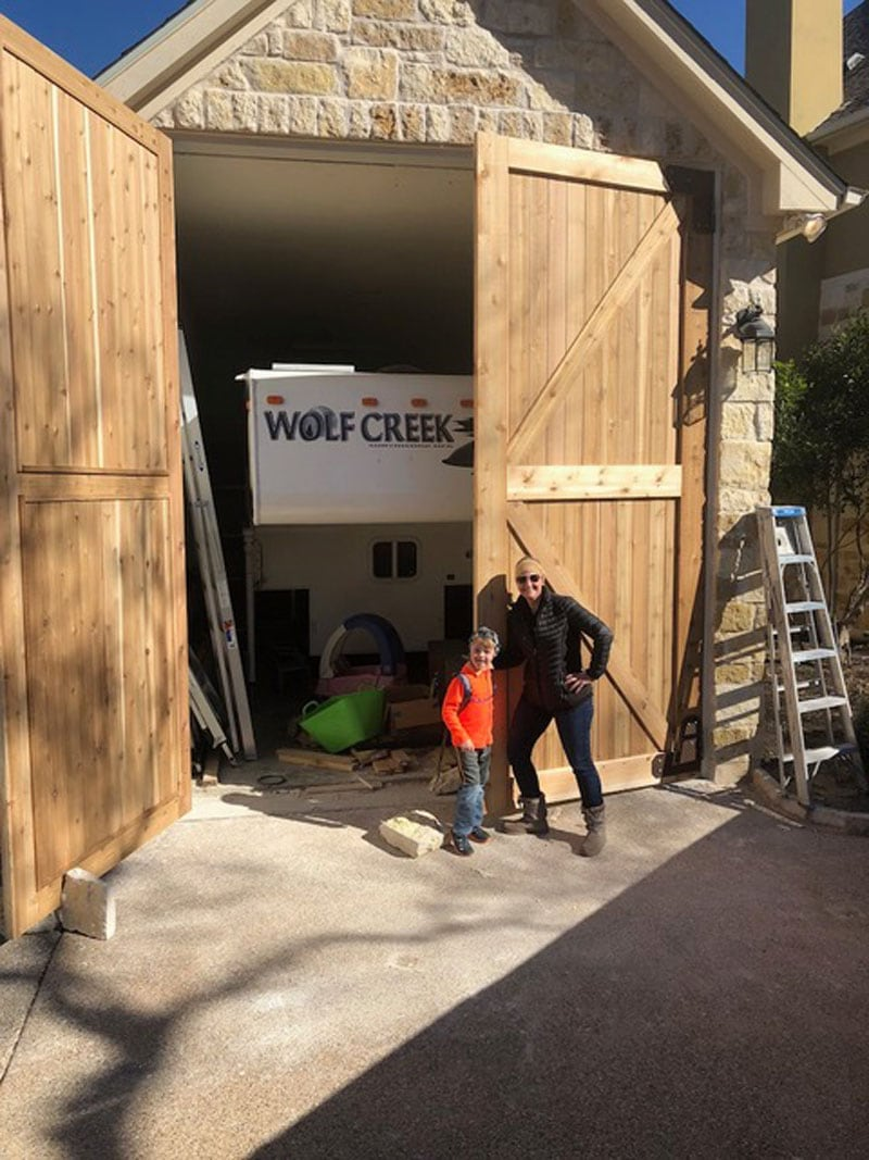 Garage Being Built for Camper with barn doors