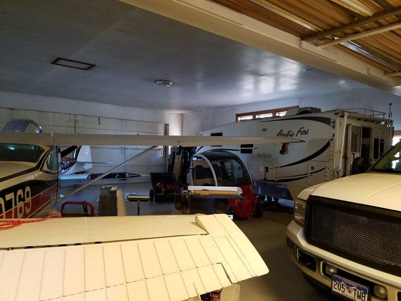 Inside Airport Hanger Garage