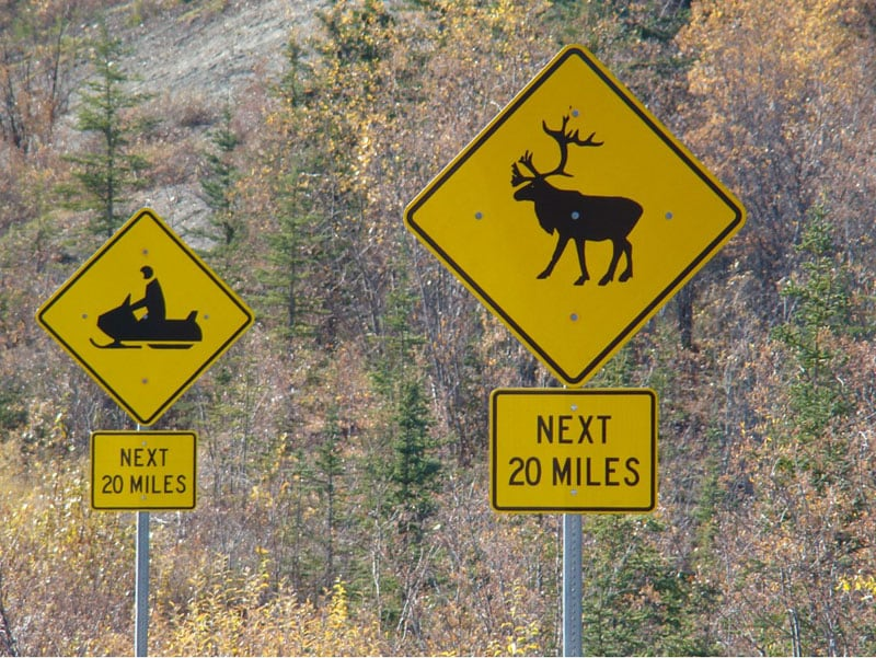 Typical Signage Along Alaskan Roadways