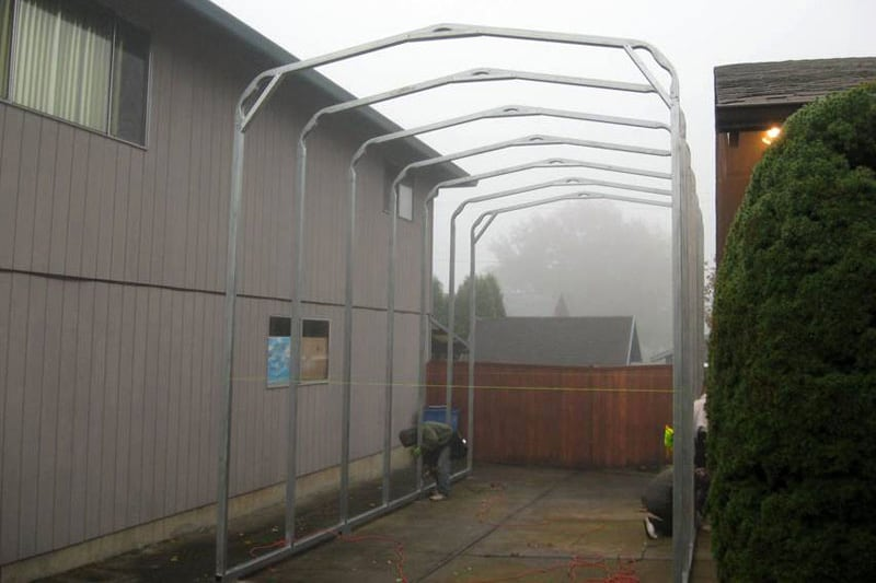 Carport Canopy Being Constructed