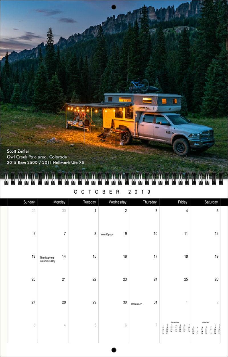 2019 TCM Calendar October