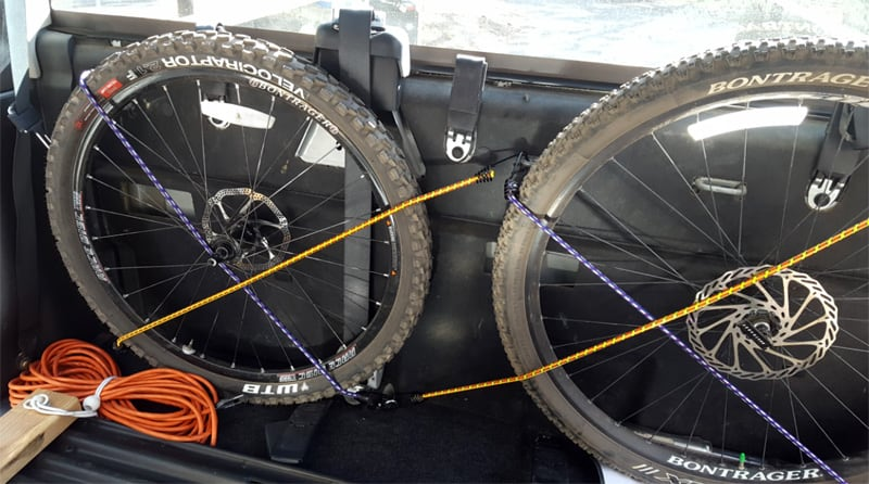 Back Seat Bike Mount Tires Strapped Bungees