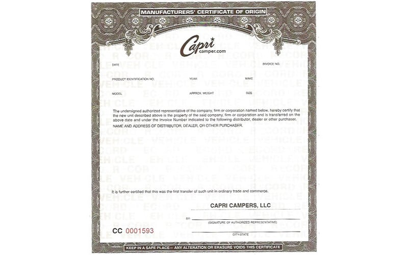 Capri Manufacturers Certificate Of Origin