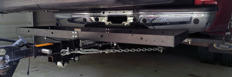 Hitch Mounted Cargo Carrier Under Camper