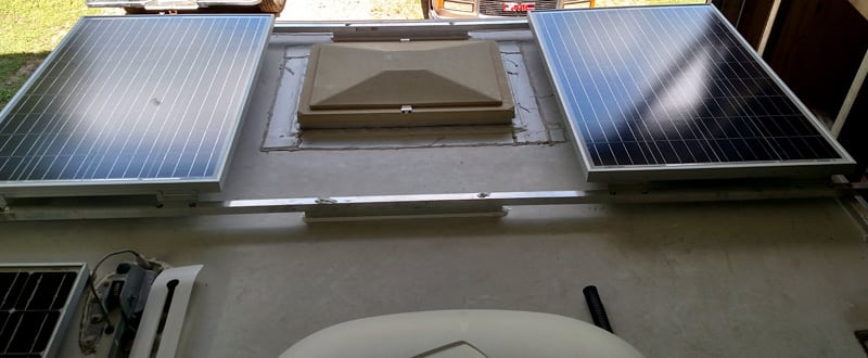 Solar Panels Mounted On Roof Rails