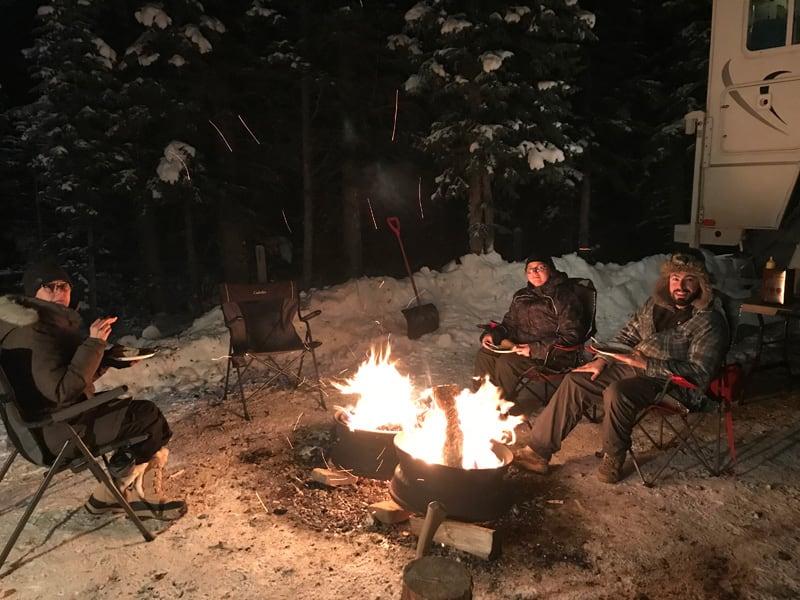 Campfire Winter Camping Snow